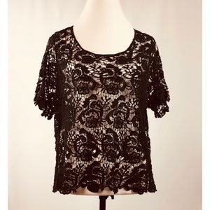 Women's INC Neo Romance, Open Crochet Knit Top